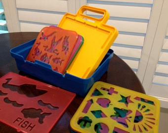 Tupperware STENCIL art plates toys by tuppertoys set of 10 stencil from the 1980s