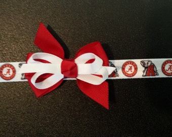 Alabama headband with scarlet and white bow for infant or toddler