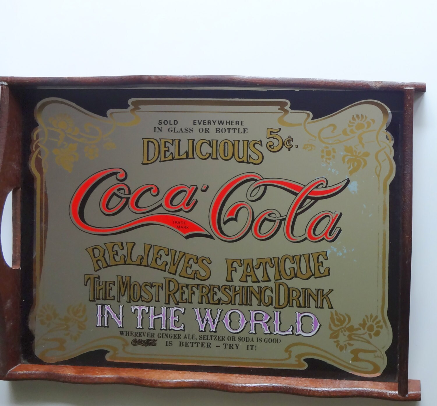 Vintage Coca Cola Mirrored Serving Tray 1970s Reserved