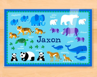 Kids Personalized Animals Placemat, Endangered Animals Placemat by Olive Kids, Laminated Placemat, Kids Placemat, Baby Animals Placemat
