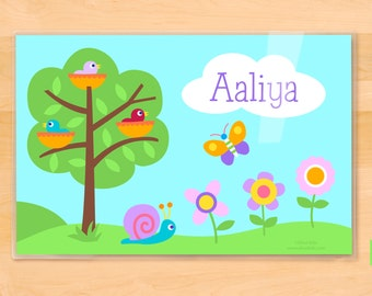 Olive Kids Personalized Baby Birds Placemat, Kids Placemat, Birdie Placemat, Spring Time Placemat, Laminated Placemat