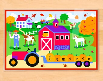 Olive Kids Personalized Fall Placemat, Kids Placemat, Harvest Placemat, Barn Placemat, Laminated Placemat