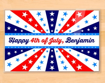 Kids Personalized Fourth of July Placemat, Children's Retro Laminated Placemat, Kids Mealtime Placemat, 4th of July Placemat