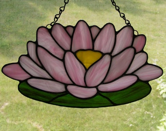 """Stained Glass Suncatcher - 10"""" wide - Pink Lotus Flower"""