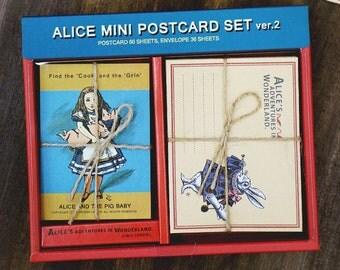 Mini Postcard Envelopes Alice In Wonderland (60 postcards + 36 envelopes)