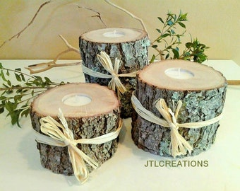 """TREASURY ITEM - Set of 3 - (3"""", 4"""", 5"""") - Tree Branch Candleholders - Wood candles - Rustic Wedding - Cabin decor - Holiday candles"""