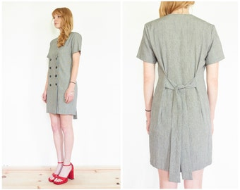 90s Tailored Short Sleeve Grey Suit Dress / Double Breast Tie Waist Blazer Mini Dress