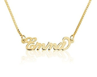 Tiny Gold Name Necklace Personalized Necklace 18k Gold over 925 Sterling Silver