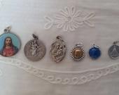Vintage religious medals / pendants, set of 6
