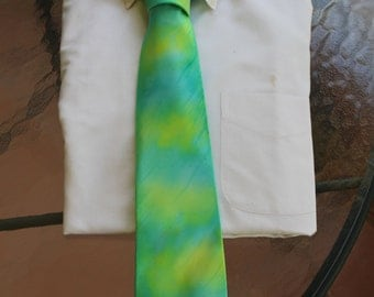 Tie Dye Tie  in Watercolors including turquoise and sunny yellow