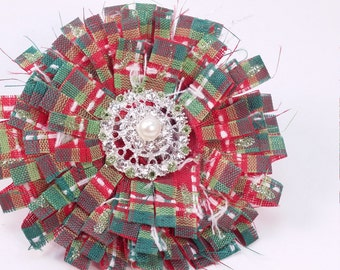 Shabby Chic Christmas Red And Green Pin/Brooch