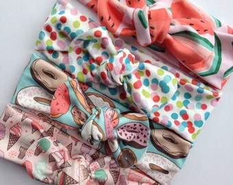 Organic summer baby knot headband- watermelon-doughnut-icecream cones and confetti- infant - baby- adult turban
