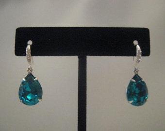 Blue zircon earrings Swarovksi rhinestone earrings bridal accessories  crystal earrings teardrop earrings silver earrings silver o earrings