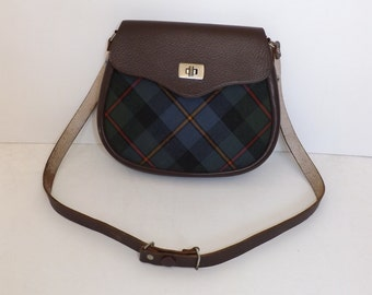 Vintage brown leather and tartan checked fabric saddle bag shoulder handbag made in Scotland