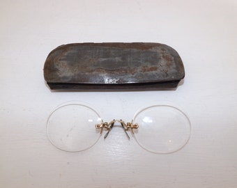 Vintage Pince-Nez pinch nose Spectacles Glasses antique victorian Steampunk gold marked 12kt in case