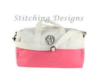 Monogram Canvas Duffle Bag, canvas satchel with CORAL or ORANGE