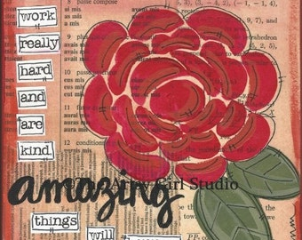 Amazing! 8x8 Mixed media Art Print