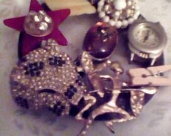 Handmade designer Pin with assorted costume jewelry,  glass and rhinestones