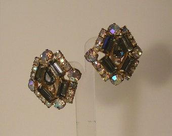 Large old Hollywood Glamour Crystal and Aurora Borealis AB Clip on Earrings