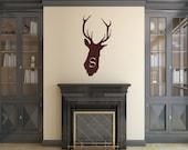 Deer Head Decal   Monogram Decal   Vinyl Wall Decal   Antlers Decor   Hunting Decal   Cabin Decor   Nursery Decor   22524 Style B2