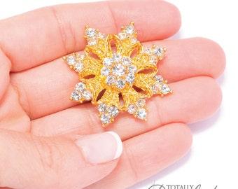 70pcs Rhinestone Snowflakes, Wholesale Crystal Rhinestone Snow Flakes Perfect for DIY Wedding Invitations and Bridal Crafts, Flat Back 541-G