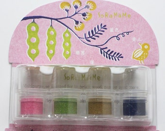 soramame versacraft ink pad set. rubber stamps ink pads. multipurpose ink pads for paper fabric wood. acid free / non toxic. small. haikara