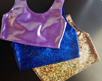 Metallic Crop Tank in Holographic Blue - Handmade