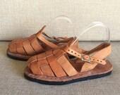Vintage 70s Huaraches Sandals Shoes Hippie Boho Open Toe Sling Back Leather Tire Tread Sole Mexico NOS Deadstock Unisex Women's 8 9 Mens 6 7