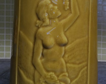 Vintage Ceramic Nude Woman PISCO Liquor Bottle Art Deco Rare Antique 1930s 1940s Carmen Del Huasco Santiago Chile Drinking Booze Decanter