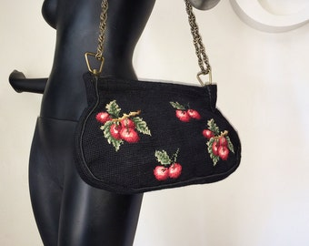 Vintage 40s Rockabilly CHERRIES Purse 1940s 1950s Pinup Pin Up Bombshell Needlepoint Handbag Shoulder Bag Spring Action Closure Brass Chain