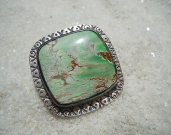 Variscite and Silver Ring Size 8 Artisan Jewelry