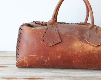 Large Vintage Leather Doctor's Bag