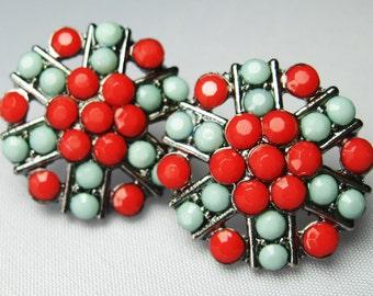 Rhinestone Earrings - Plastic Rhinestones - Posts - Handmade