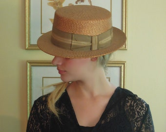 Vintage Brown Straw Fedora Hat / Knox Boater Hat Italy / Palazzio Vecchio Florence Italy / Italian Hat / Petersham Hat Ribbon