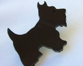Vintage Scottie Dog Pin, Early Plastic 1930s Jewelry