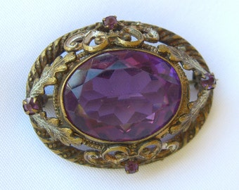 Victorian Amethyst Glass Brooch Antique Pin Vintage Estate Jewelry