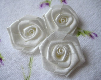 """1.5"""" Ivory Satin Ribbon Rose for Sewing, Party Dresses, Hair accessories, Doll Clothing, Crafting, Wedding, 12 pieces"""
