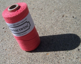 Bakers Twine - Divine Twine - New Solid Coral - Or Your Choice of Color - 100% Cotton -  Your Choice of Length