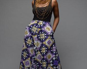 Sale / African print skirt/ Ankara skirt/ Wax print skirt/ A line skirt/ Gigi Purple by GITAS PORTAL