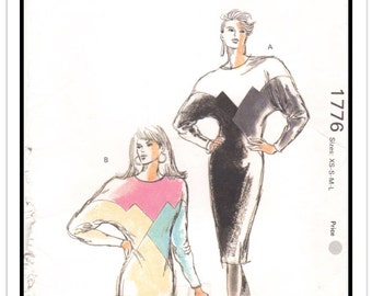 KWIK SEW Pattern 1776 - Misses' Geometric Dolman Sleeve Color Block Dress or Top for Knits - Sz Extra-Small - Large - B31.5-41.5 - Uncut