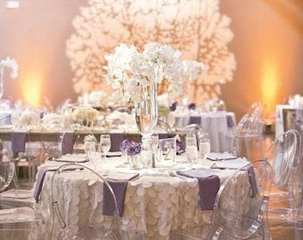 Champagne Petal Circle Taffeta Tablecloth