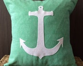 """16""""X16"""" Anchor Pillow Cover in Felt and Cotton Twill 