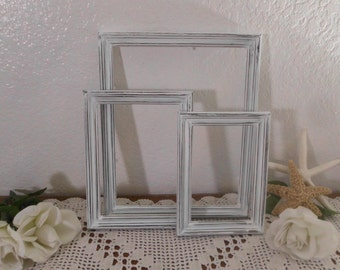 White Frame Set Rustic Shabby Chic Distressed Picture Photo Beach Cottage Country Farmhouse Home Decor Wedding Reception Decoration Gift Her