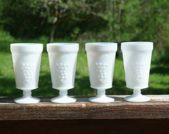Indiana Milk Glass Goblets, Harvest Grape, Vintage Stemware, White Glass for Wedding, Collectible