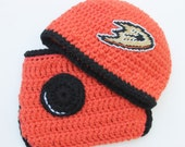 Anaheim Ducks inspired hat and diaper cover set for BOY or GIRL 1 to 3 months Crochet with logos not made with felt