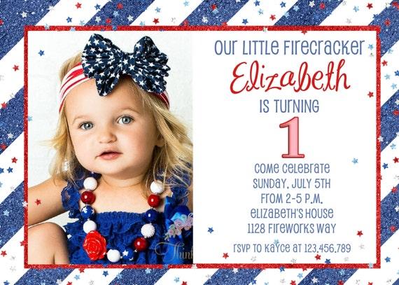 July 4th Patriotic Glitter Birthday Invitation Red White and Blue Stars Invite