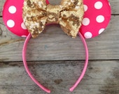 Hot Pink and White Minnie Headband and Gold Sparkle Bow Baby's First Birthday Photography Prop Baby Girl 1st Birthday Headband Sequin Bows