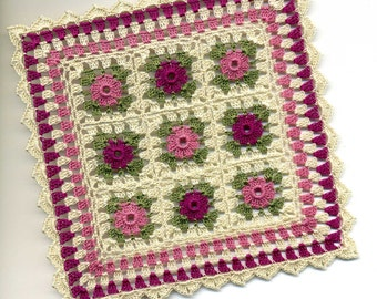 Dollhouse Miniature Pink Flower Afghan Bedspread Cover Throw Pink, Plum, Green and Ecru - MADE TO ORDER