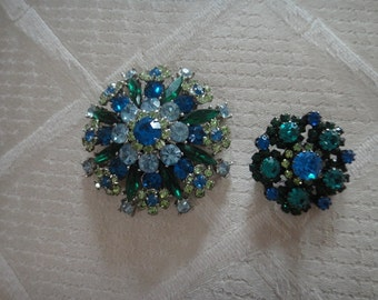 Vintage Filigree Brooches in Blue and Greens
