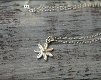 Pointed Petal Flower Necklace in Sterling Silver